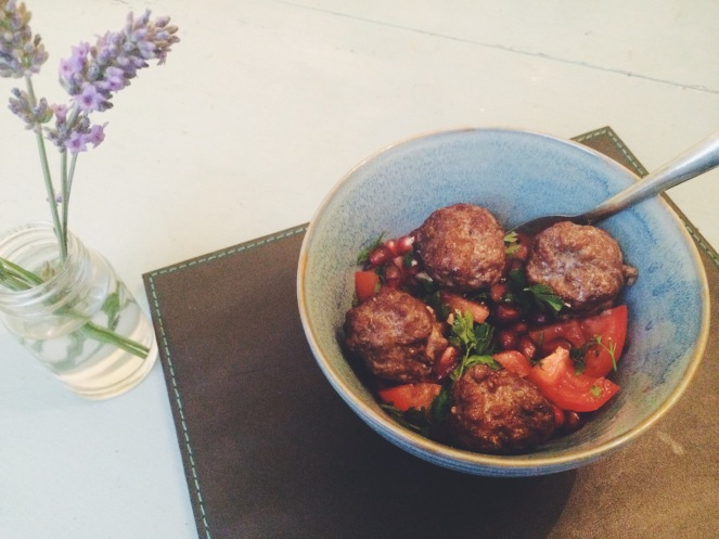 Beef meatballs pomegranate salad